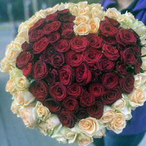 101 роза в форме сердца в Кропивницком фото