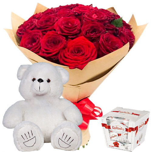 "товар 25 роз, ""Рафаэлло"" и мишка"