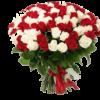 Фото товара 51 красная и белая роза (50 см)
