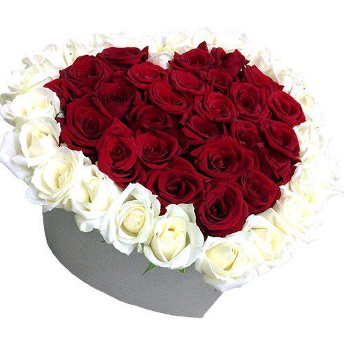 Фото товара 51 роза сердце в коробке