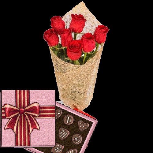 Фото товара 7 красных роз с конфетами