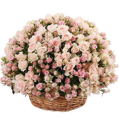 Фото товара 201 кустовая роза  в корзине