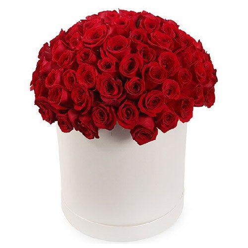 Фото товара 101 роза красная в шляпной коробке