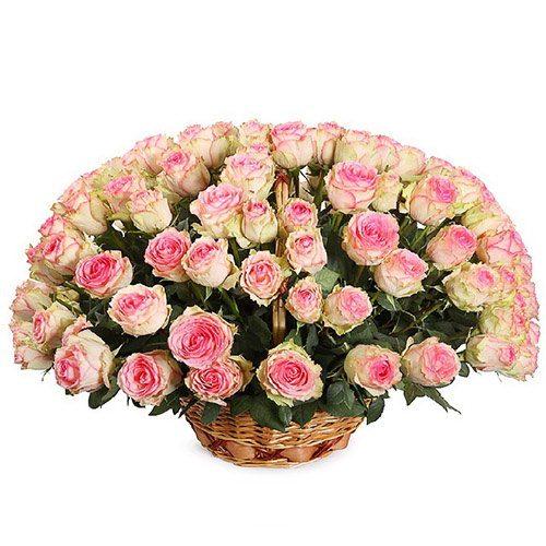 Фото товара 101 розовая роза в корзине