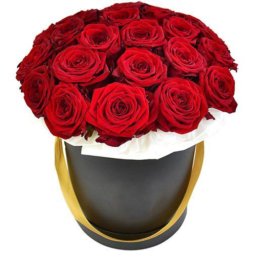 Фото товара 21 роза в шляпной коробке