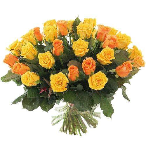 Фото товара 51 желтая и кремовая роза