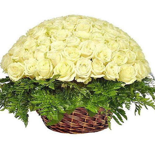 Фото товара Корзина 101 белая роза
