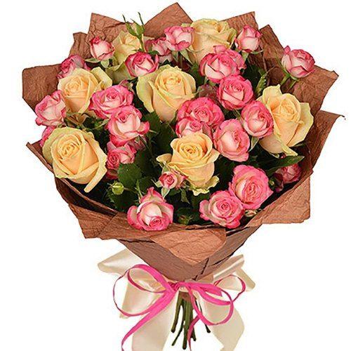 Фото товара Кремовая роза и спрей