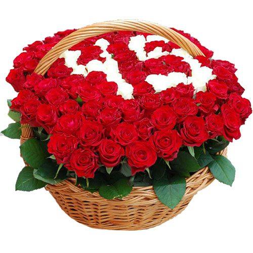 Фото товара 101 роза с числами в корзине