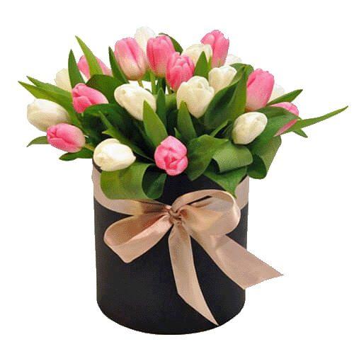 Фото товара 25 тюльпанов в шляпной коробочке