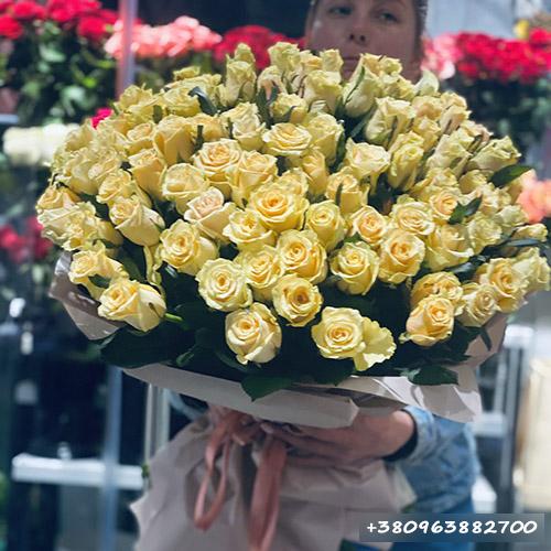 101 кремовая роза в Черкассах фото