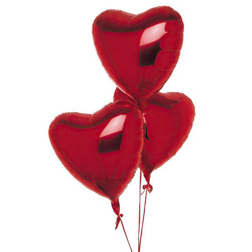 Фото товара 3 фольгированных шарика в форме сердца