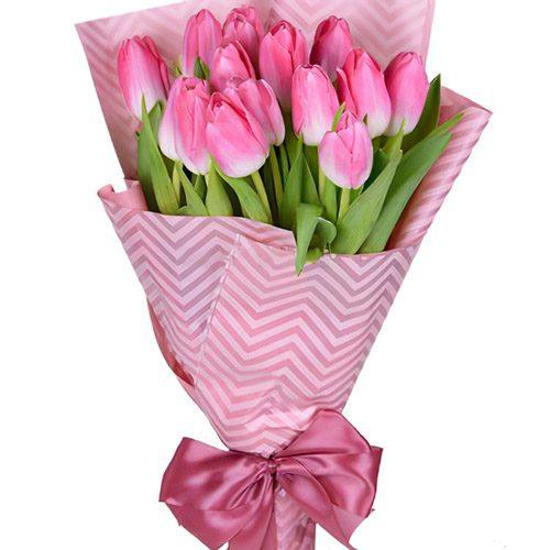 Фото товара 15 розовых тюльпанов