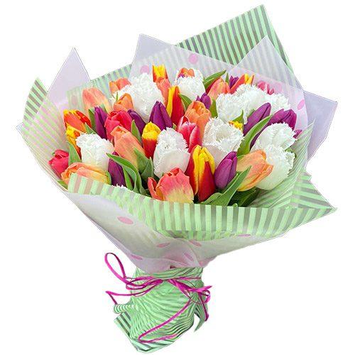"""Фото товара 45 тюльпанов """"Махровый микс"""""""