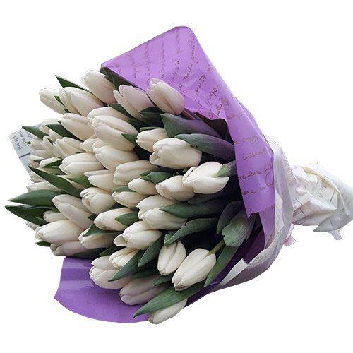 """Фото товара 45 белых тюльпанов """"Ангел мой"""""""