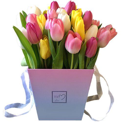 """Фото товара 31 тюльпан """"Весенний ветер"""" в квадратной коробке"""