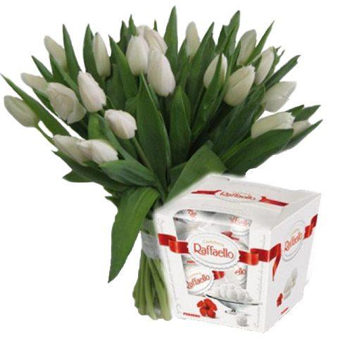 """Фото товара 21 тюльпан и """"Raffaello"""""""