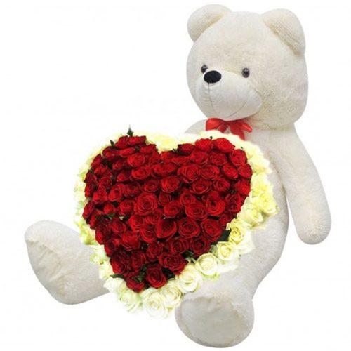 Фото товара 101 роза и большой мишка