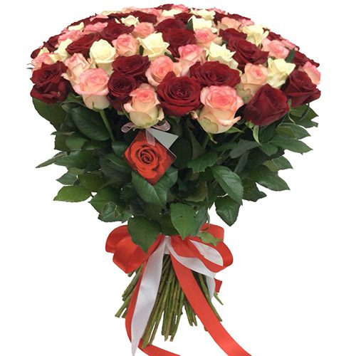"Фото товара 101 роза ""Розовый жемчуг"""