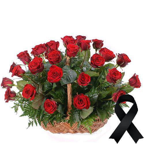 Фото товара 36 красных роз в корзине
