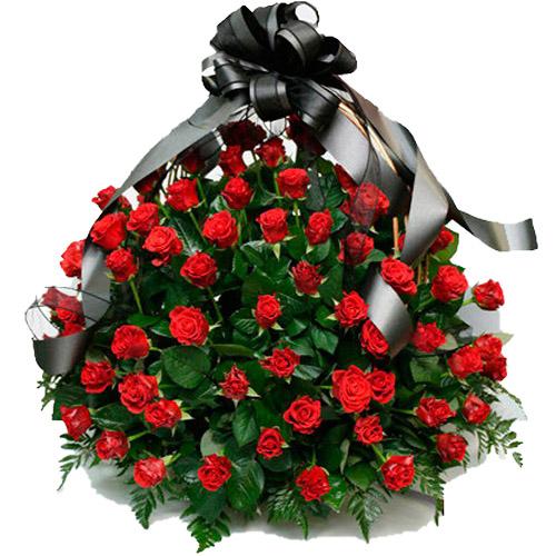 "Фото товара 100 алых роз ""Пламя"" в корзине"