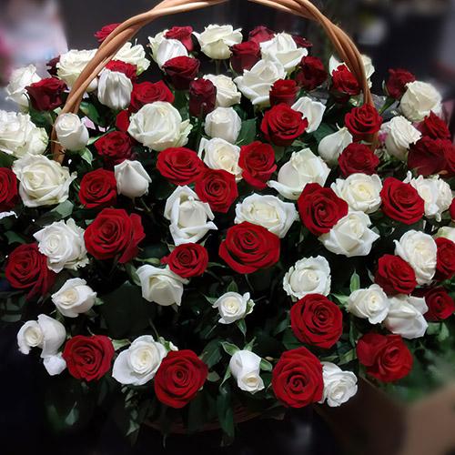Фото товара Корзина красных и белых роз